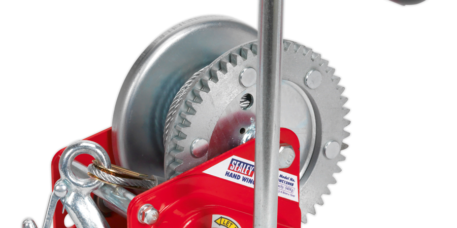 Sealey GWC2000B Geared Hand Winch with Brake /& Cable 900kg Capacity
